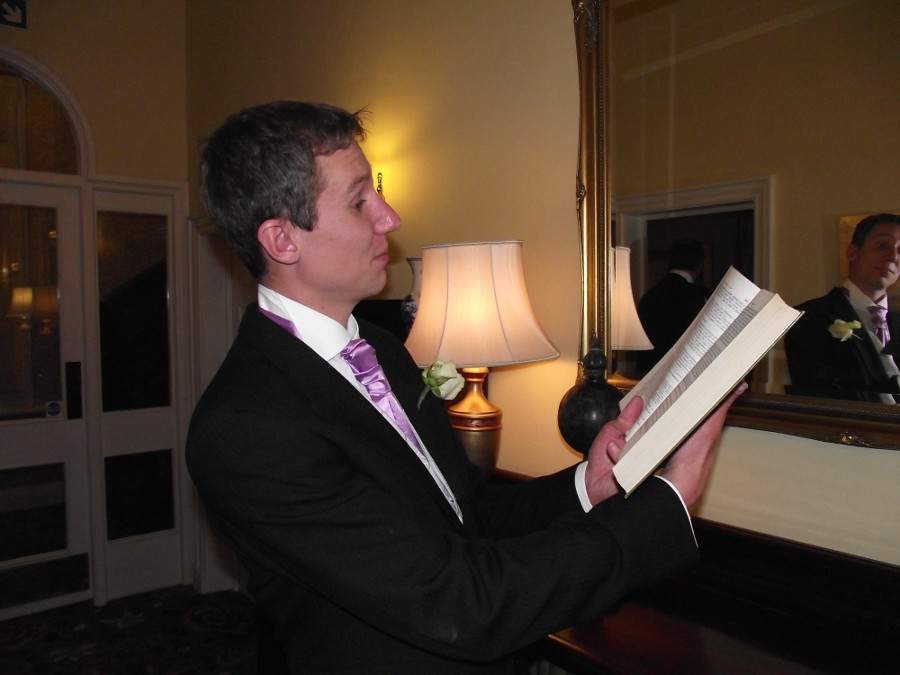 Edd Hobday reads his speech